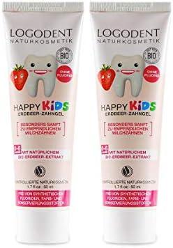 LOGODENT Kinder Zahngel Erdbeere (2x50 ml), natürliche Wirkstoffkombination aus Erdbeer-Aroma und Bio-Kamille, Bio Zahnpasta, Vegan, Fluoridfrei, Naturkosmetik