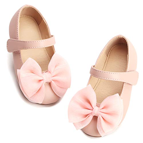 THEE BRON Girl's Toddler/Little Kid Ballet Mary Jane Flat Shoes (7M US Toddler, Pink)]()