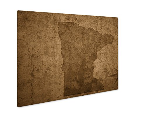 (Ashley Giclee Minnesota State Map On A Old Vintage Crack Paper, Wall Art Photo Print On Metal Panel, Sepia, 16x20, Floating Frame, AG6463609)
