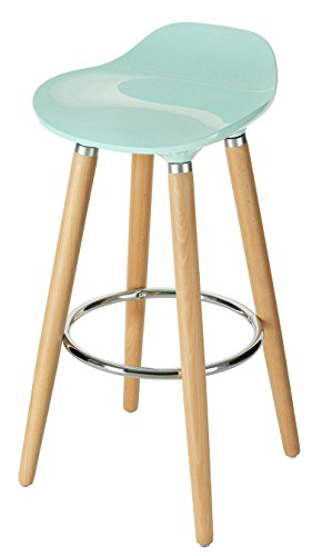 Orolay ABS Plastic Bar Stools Kitchen Breakfast Barstool with Wooden Legs (Blue) (Barstools Breakfast)