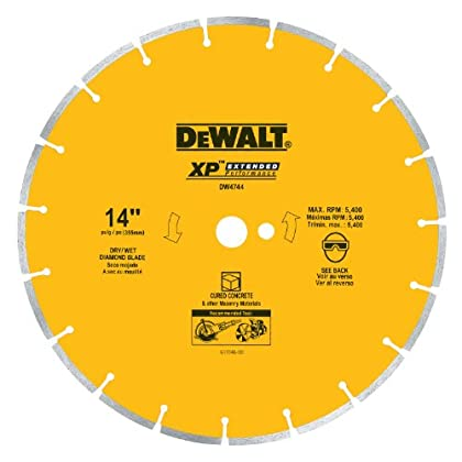 Image of Home Improvements DEWALT DW4744 14-Inch Diamond Segmented Saw Blade with 1-Inch Arbor for Cured Concrete