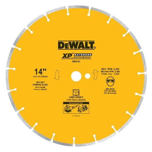 (DEWALT DW4744 14-Inch Diamond Segmented Saw Blade with 1-Inch Arbor for Cured Concrete)