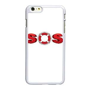 Funda iPhone 6 6S más la caja del teléfono celular de 5.5 pulgadas funda sos blanca logotipo E3M5QM