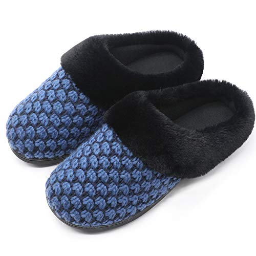 Faux Slip Fleece Blue Plush on Outdoor Indoor Memory Polar Lining Collar House Fur Women's Slippers Foam Zigzagger Shoes Eq8vHv