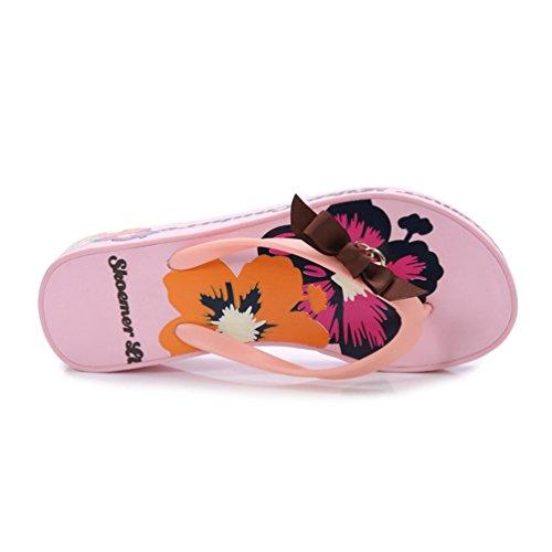 Rose Pantuflas Mujer Plataformas Chanclas Tacon Linnuo Flops Metal Impreso Con De Sandalias Flip Cuñas Bownot Playa ZRfwqfY