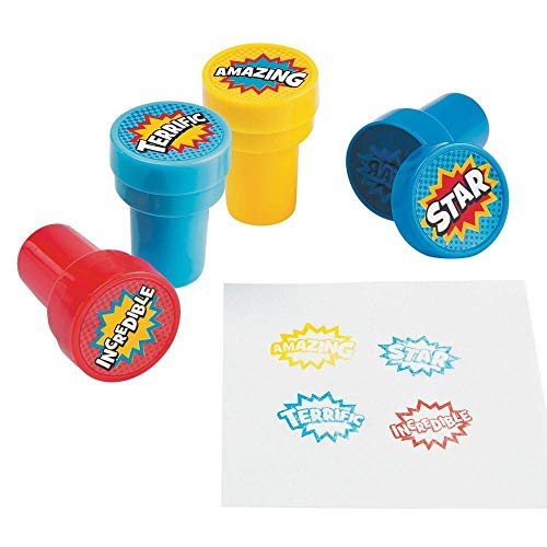 Fun Express Plastic Superhero Stampers - 24 Pieces
