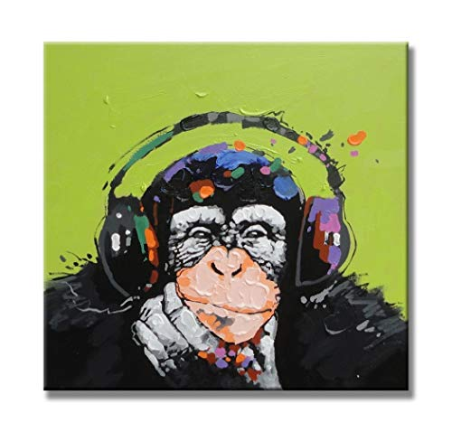 Paimuni Gorilla Monkey Paintings, 100% Hand Painted Cute Chimp Canvas Oil Painting Stretched and Framed Ready to Hang Living Room Bedroom Office Bathroom 24