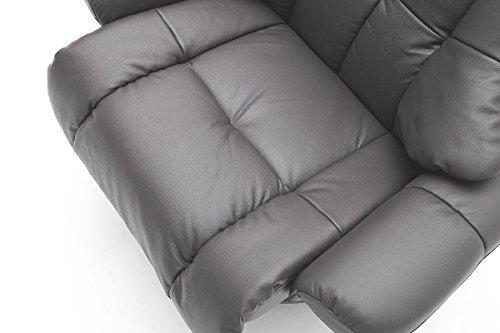 Robas Lund Fauteuil Cuir Fauteuil Relax Fauteuil TV avec tabouret jusqu'à 130 kg, Fauteuil télévision véritable cuir brun, Calgary