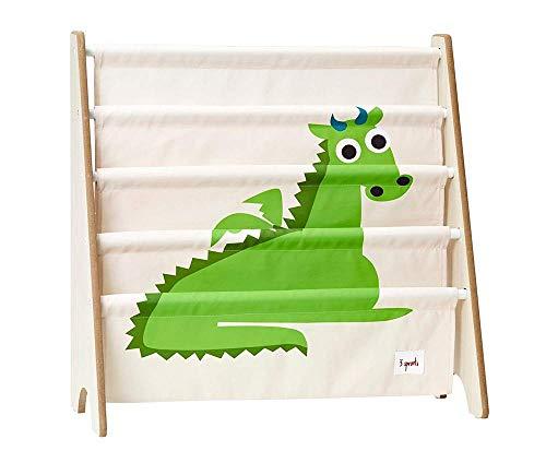 - 3 Sprouts Book Rack - Kids Storage Shelf Organizer Baby Room Bookcase Furniture, Dragon/Green