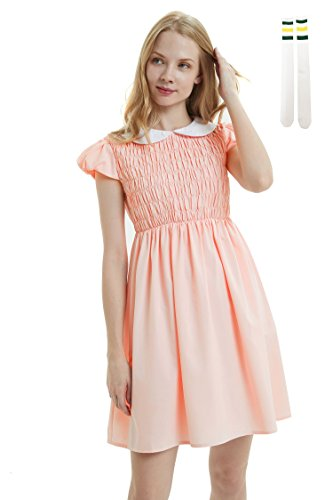 Oulooy Women's Pure Pink Peter Pan Collar Costume Dress Short Sleeve with Socks, -
