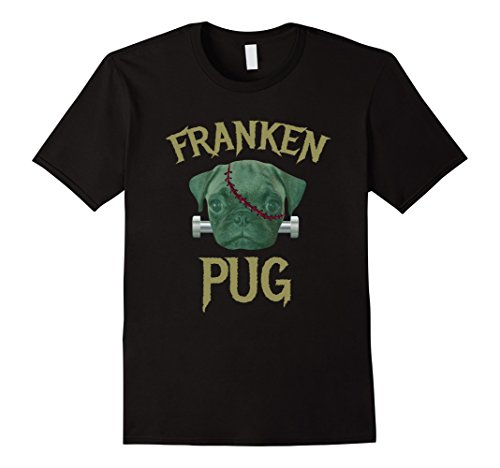 Lovers Halloween Costumes (Mens Franken Pug T-Shirt Funny Dog Lover Halloween Costume Tee Large Black)