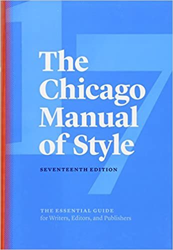 Blue cover of the17th Edition of the Chicago Manual of Styel