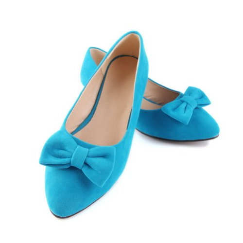 Low with Toe Heel Womens Blue US B M 8 Pumps Closed PU 5 Solid Bowknot Pointed WeiPoot Frosted xHvWXnSdW