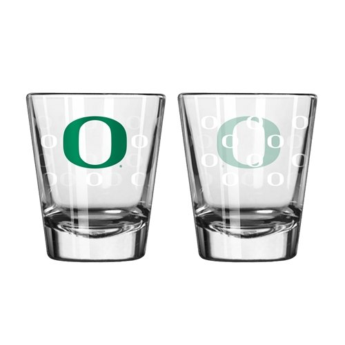 Oregon Ducks Shot Glass - 2 Pack Satin Etch ()