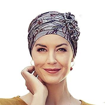 nouveau produit 3d6d9 c8a1e Christine Headwear Turban chimiothérapie Lotus en Bambou Gris imprimé Indien