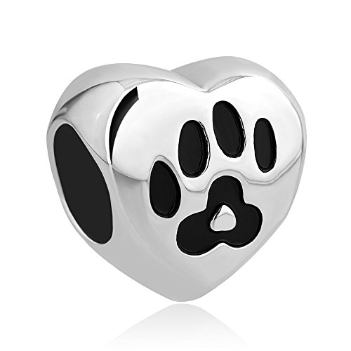 CharmsStory Stainless Steel Dog Mom Charm Pet Paw Print Beads For Bracelets