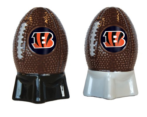 NFL Cincinnati Bengals Sculpted Football Shaped Salt and Pepper Shakers, Brown