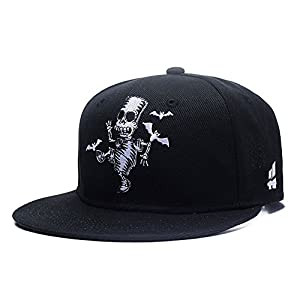 Quanhaigou Skull Skeleton Baseball Cap, Men Solid Flat Bill Adjustable Snapback Hats Unisex