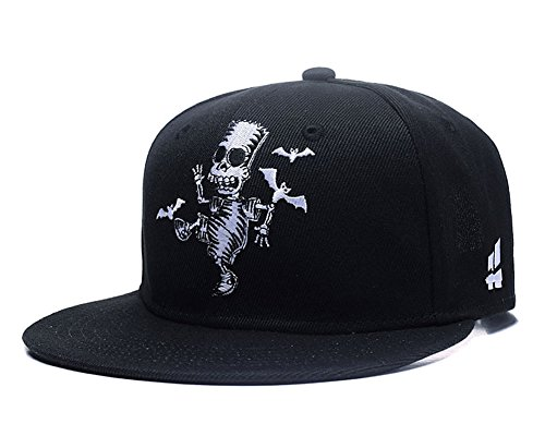 Quanhaigou Skull Zombie and Bats Embroidery Snapback, Unisex Hip Hop Skeleton Adjustable Baseball Cap Fashion Flat Brim Hat