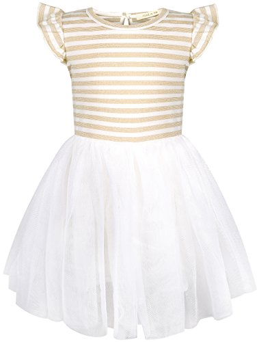 HONGLIN Baby Grils Ruffles Lace Dress Yarn-Dyed Striped and Flouncy Sleeves Short Sleeve Tutu Dress Princess Dresses