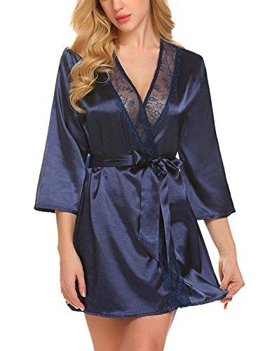 Anhoney Women Sexy Lingerie Lace Trim Satin Kimono Robe (Kimono Lace Robe)