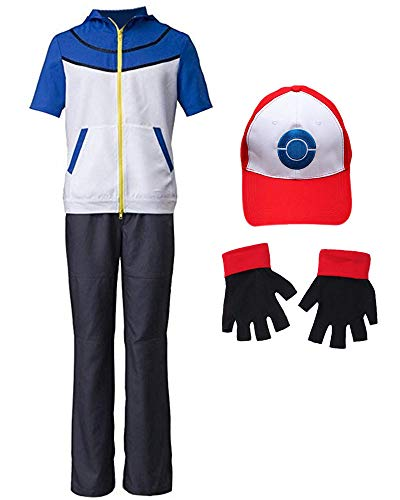 DAZCOS US Size Unisex Ash Ketchum Cosplay Costume with Cap and Golves (Men Large) ()