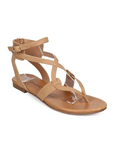 Breckelles Ee04 Kvinnor Läder Korsmönstrad Flip Flop Gladiator Sandal - Naturlig