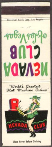 Nevada Club Greatest Slot Machine Casino Las Vegas matchcover from The Jumping Frog