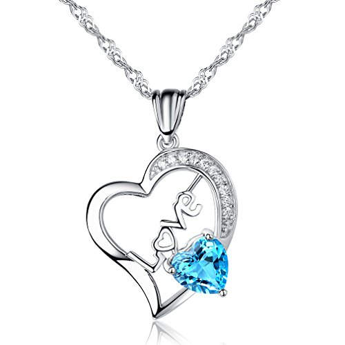 "♥Birthday Gift♥Natural Topaz Gemstone Pendant Necklace ""True Love By Heart"" Sterling Silver Fine Jewelry"