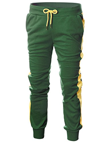 Ohoo Mens Slim Fit Lightweight Training Active Sweat Jogger Pant with Color (Yellow Jogger)