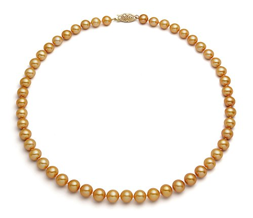 - 14k Yellow Gold Golden Freshwater Cultured Pearl Necklace AA+ Quality (8.5-9.5mm), 17