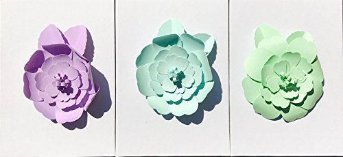 Trio of Large Pastel Camelia Paper Flowers