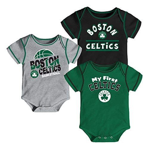 Outerstuff NBA Newborn Infants Rookie 3 Piece Creeper Bodysuit Set (3/6 Months, Boston Celtics) (Celtics Snap Boston)
