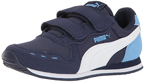 Nylon Peacoat - PUMA Kids' Cabana Racer Mesh V PS Sneaker, peacoat-puma white-little boy blue, 10.5 M US Little Kid