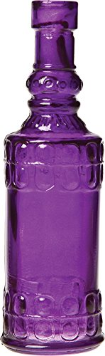 Luna Bazaar Small Vintage Glass Bottle (6.5-Inch, Cylinder Design, Purple) - Flower Bud Vase - For Home Decor, Party Decorations, and Wedding Centerpieces