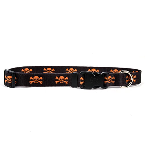 Yellow Dog Design One Size Fits All Orange and Black Skulls Break Away Cat Collar, Null