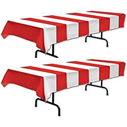 Red & White Stripe Carnival Tablecover (SET of 2) by happy deals