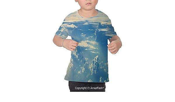 PUTIEN Print Decor All Over Print T-Shirt,95/% Polyester,Childrens Short Sleeve T