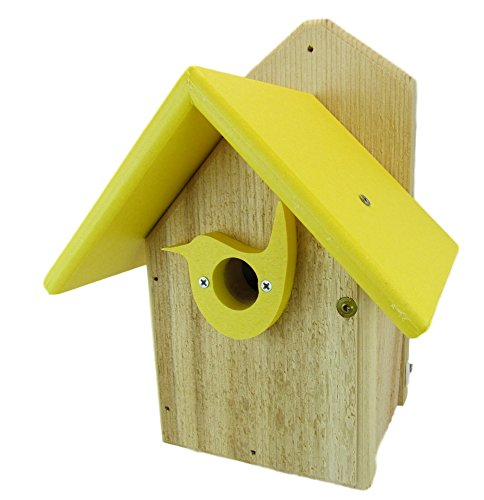 Nature's Way Bird Products JCs Wildlife Post Mount Cedar Wren House w Yellow Poly Roof & Birdhouse Predator Guard Portal