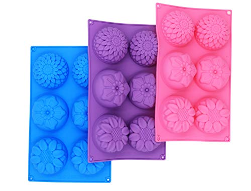 PONECA Silicone Cake Mold Soap Molds 6 Cavity Christmas Flower Shape Baking Molds 3 Packs Fondant Shape Decorating Ice Cube Trays for Homemade Cake Chocolate Cupcak Gift]()
