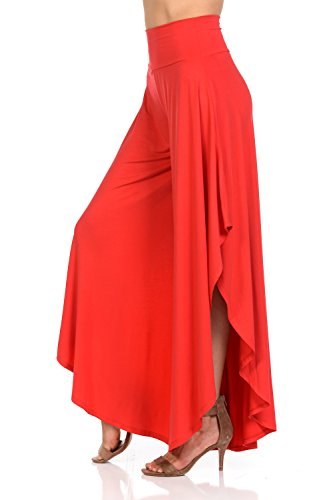 Ladybug Women's Solid Long Pants Flowy Wide Leg Palazzo Pants Fold Over Side Slit S-Plus Sizes (Small, Tomato Red) (Tomato Bug)