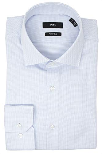 Hugo Boss Men's Gordon Regular Fit Dress Shirt (16, Light Blue)
