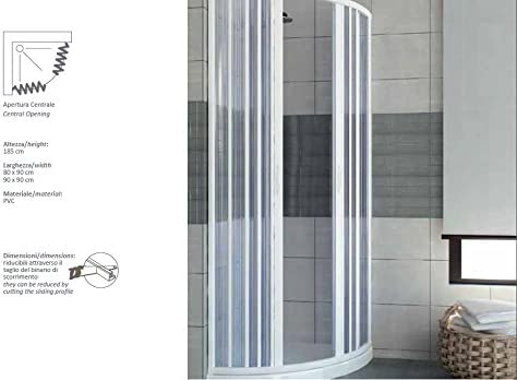 PVC extensible de ducha apertura central semicircular de la puerta 70/80: Amazon.es: Hogar