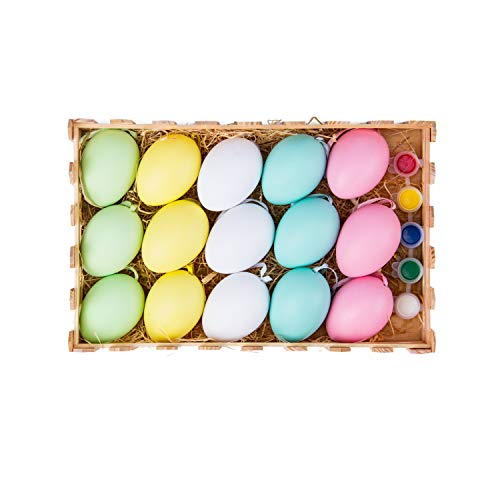 RUSPEPA Colorful DIY Easter Eggs - Eggs with Brush and Pigment for Easter Eggs Hunting and Easter Eggs Basket - 15 Pack ()