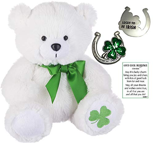 Ganz St Patrick's Shamrock Bear Plush Furry Animal w/ a Double Sided Good Luck Blessing Lucky to Be Irish Pocket Charm (Lucky to Be Irish Charm)]()