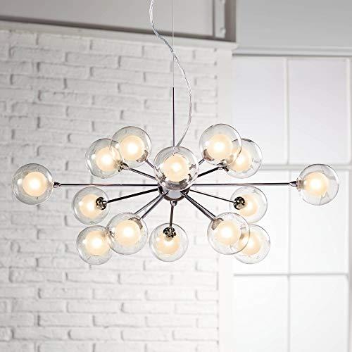 Nickel Sputnik Pendant Light Modern Chandelier Chrome Silver Fixture for Kitchen Dining Room Living Room Lighting - Possini Euro Design (Pendant Sputnik)