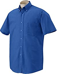 Men's Short Sleeve Oxford Dress Shirt - Deep Blue - 2XL