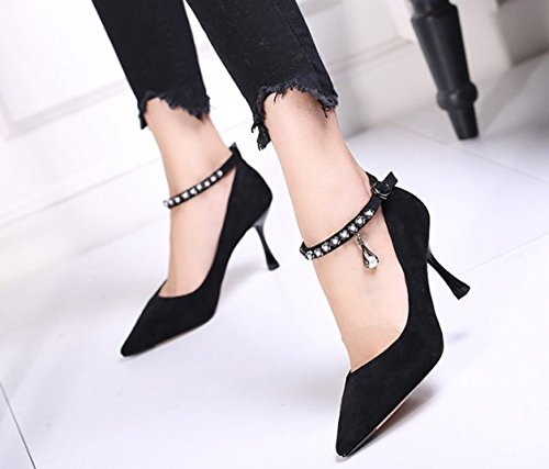 Single Lady Buckle Mouth Work Shallow 34 Shoes Fine One Word High Heel Black With Shoe Heels Leisure MDRW Elegant 8Cm Spring Suede Head Pointed RvRdqY