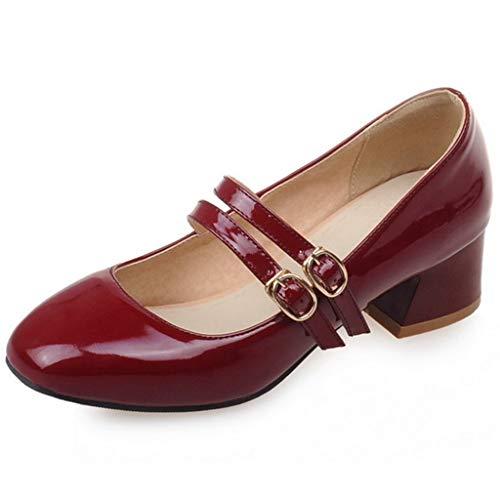 Women's Low Heel Oxford Shoes Buckle Strap Slip-On Comfort Block Heel Casual Dress Pump Loafers Red