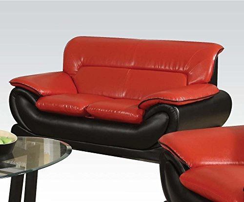 - Acme Furniture ACME Orel Red and Black Bonded Leather Loveseat